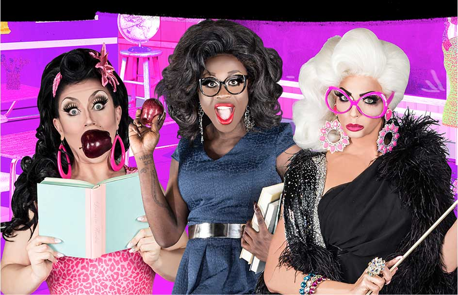 Former contestants of RuPaul's Drag Race Bob the Drag Queen, Alyssa Edwards and BenDeLaCreme post in teacher outfits for an FDA campaign.