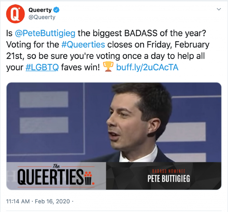 A screenshot of a Queerty Twitter post that asks if Pete Buttigieg is the biggest badass of the year? The photo in the tweet is of Pete Buttigieg at an HRC Gala.