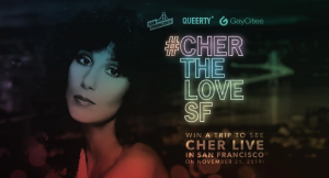 """A promotional graphic with a vintage image of Cher, with the title, #ChertheLoveSF, with caption, """"Win a trip to see Cher live in San Francisco on November 21,2020."""""""